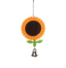 Игрушка для птиц зеркало-подсолнух с колокольчиком