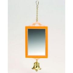 """Игрушка для птиц """"Зеркало прямоугольное с колокольчиком"""""""