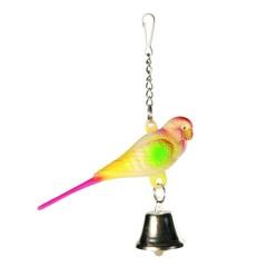 """Игрушка для птиц """"Попугай с колокольчиком на цепочке"""" 9см"""