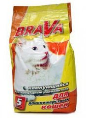 Комкующийся бактерицидный наполнитель для кошачьего туалета BRAVA